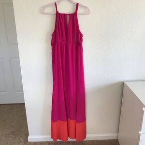 Old Navy Color Block Pink and Orange Maxi Dress